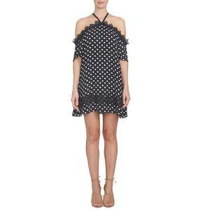 CECE Black Cold Shoulder Shift Dress Size 6